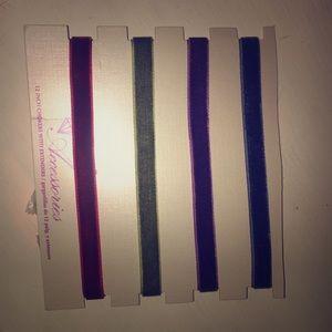 4 colored velvet chokers. ‼️NEVER WORN‼️
